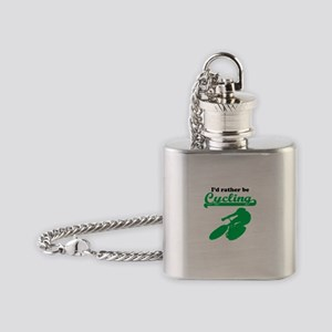 Id Rather Be Cycling Flask Necklace